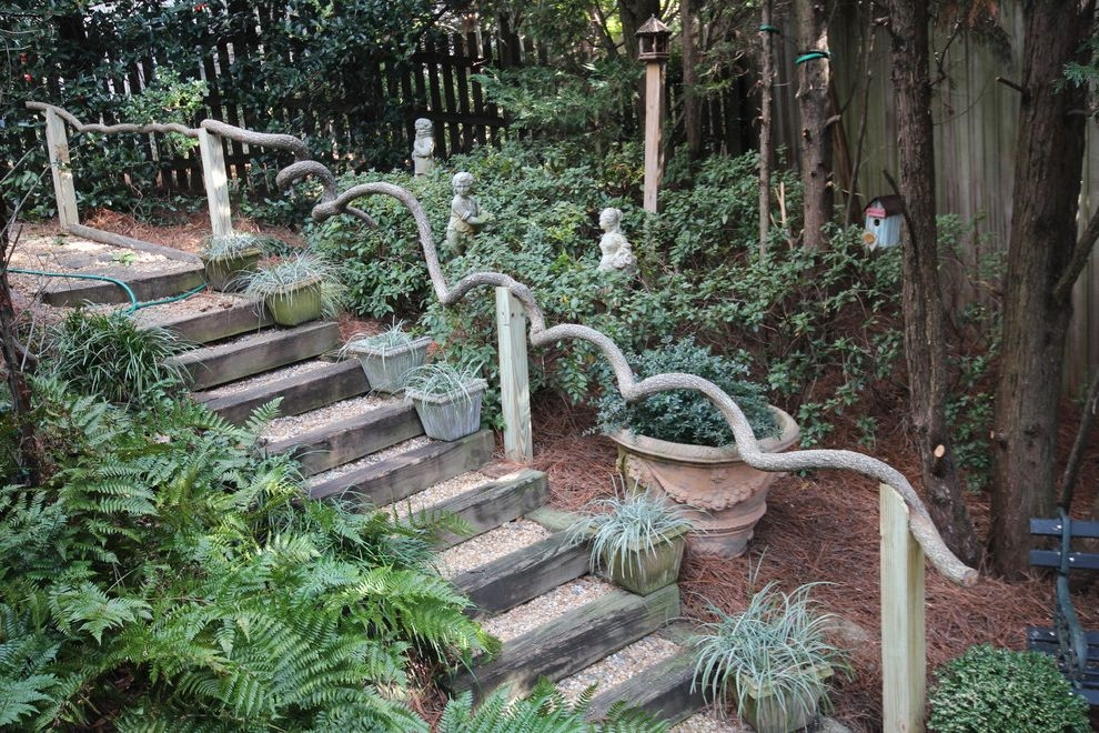 Outside Step Railings Traditional Landscape And Birdhouse Garden | Wooden Handrails For Outdoor Steps | Wall Mounted Wooden | Prefab | Lighting Outdoor | Deck | Outdoor Garden Path