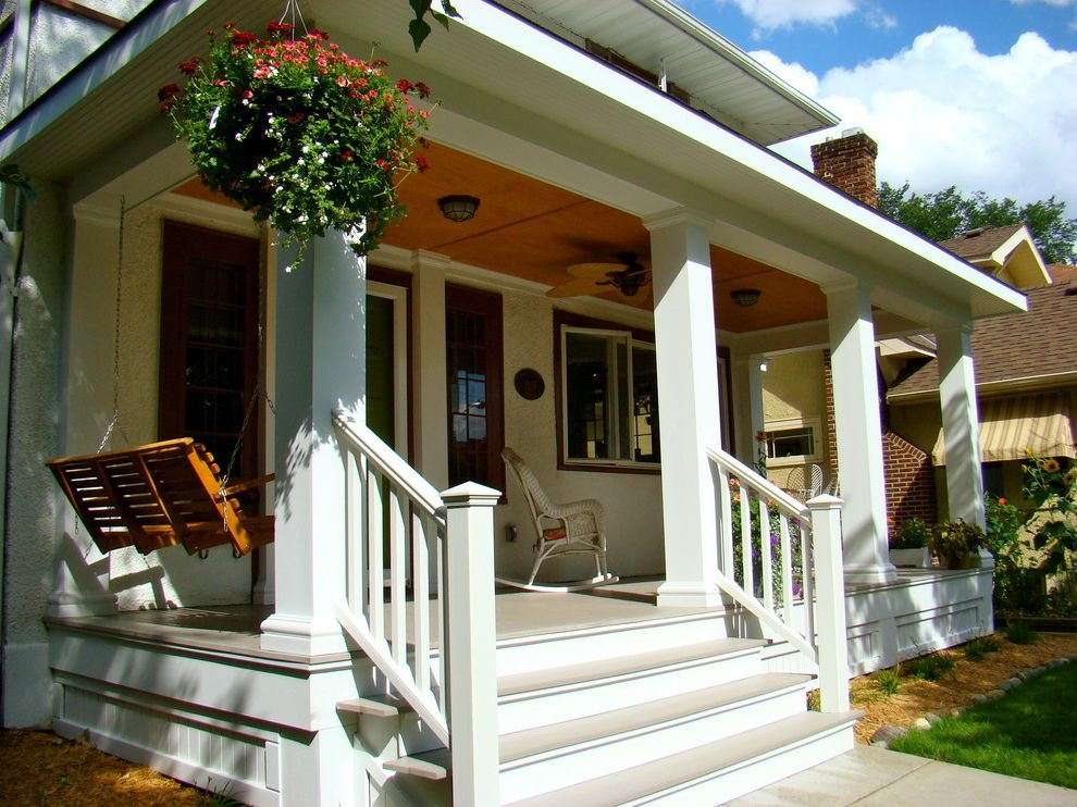 Outside Step Railings Traditional Porch Also Azek Porch Banister | Craftsman Style Exterior Stair Railings | Step | Black Iron | Fence | Craftsman House | Outdoor