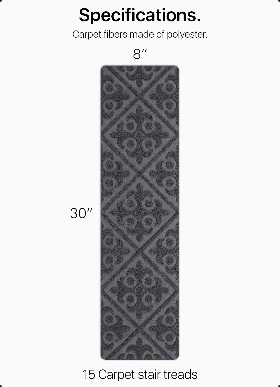 "Carpet Stair Treads Non Slip Gray Embossed – 8""X30"" 15 Pack | Black Carpet Stair Treads | Bullnose | Slip Resistant | Interior | Gray | Indoor"