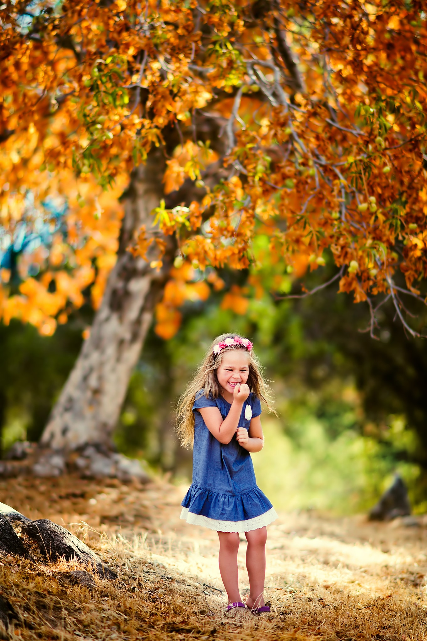 Child Enjoying Autumn