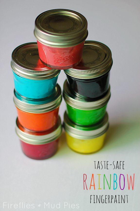 Taste-Safe Rainbow Fingerpaint Recipe - Fireflies and Mud Pies