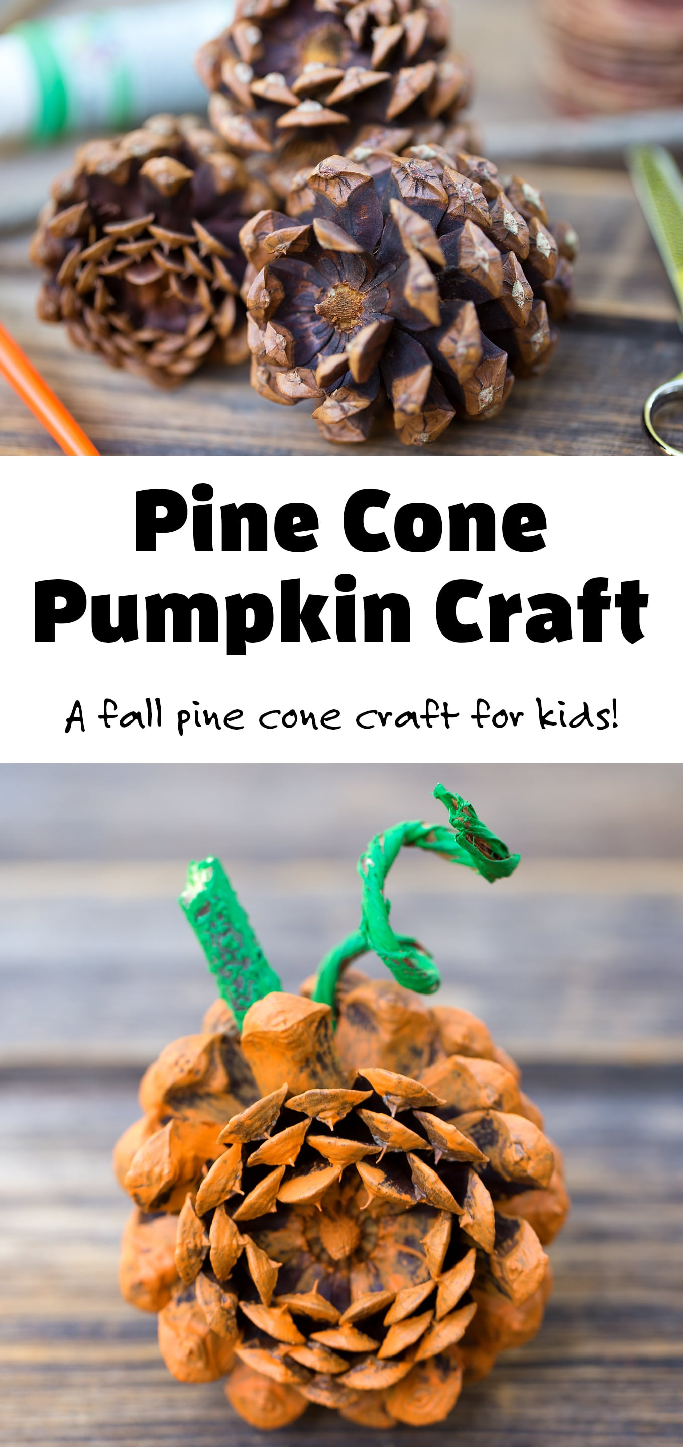 I love making DIY fall nature crafts with pine cones and so do my kids. This easy pumpkin craft is made with pine cones. It's a fun fall decoration or centerpiece! #pinecone #pumpkin #naturecrafts via @firefliesandmudpies