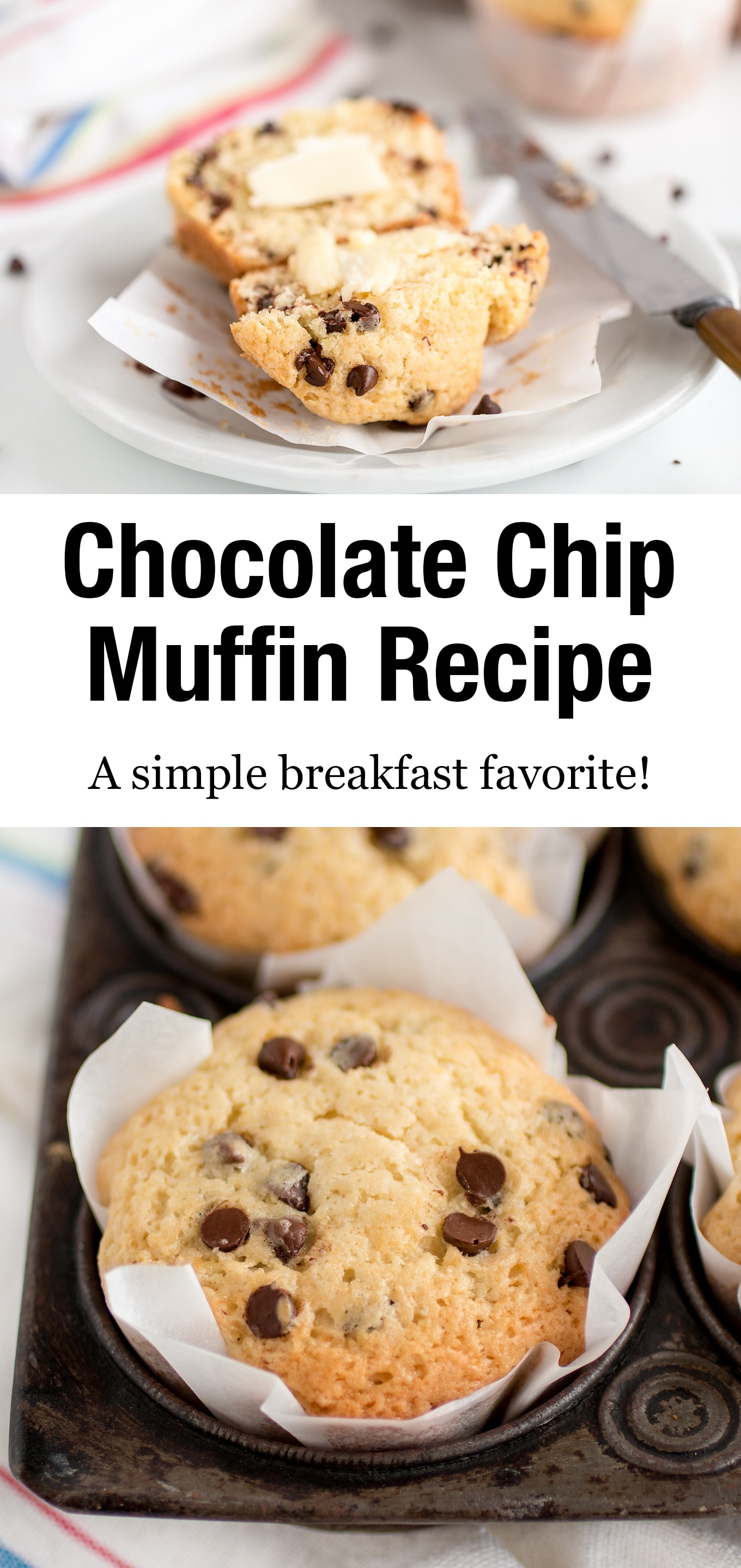 Best paired with a glass of ice-cold milk and smeared with salted butter, these easy Chocolate Chip Muffins taste delicious warm and fresh from the oven. #chocolatechipmuffinrecipe #easy #breakfast via @firefliesandmudpies