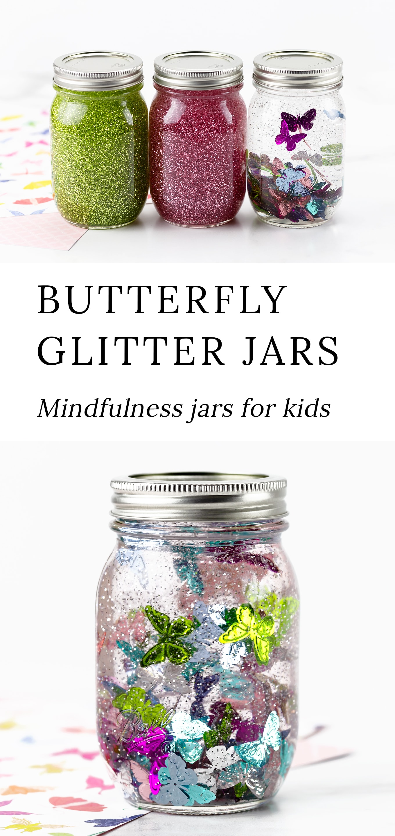 Follow along with our step-by-step directions and video tutorial to create these beautiful and calming Butterfly Glitter Jars! #glitterjars #spring #kidscrafts via @firefliesandmudpies