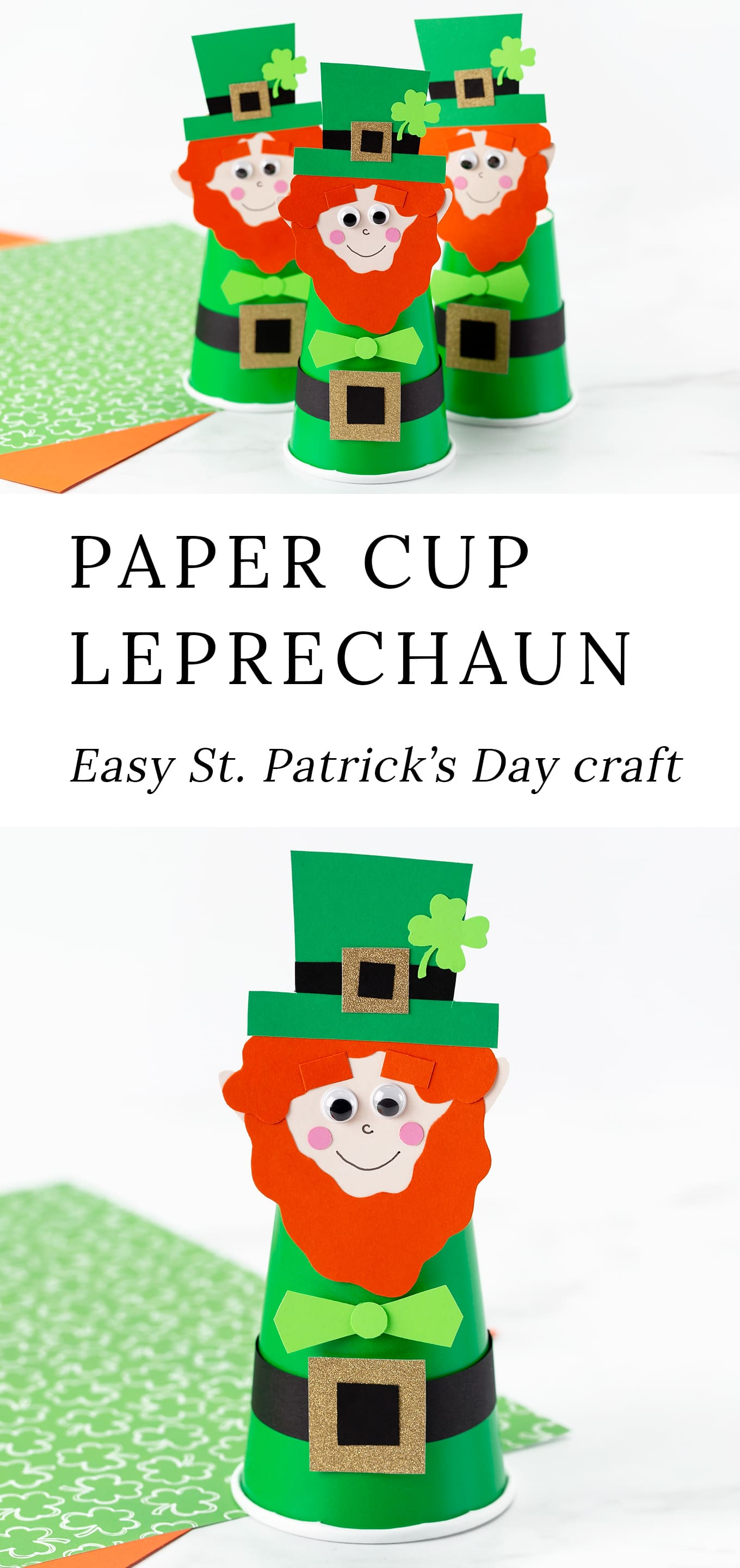 Making your ownPaper Cup Leprechaun is easy and fun! This cute DIY St. Patrick's Day craft is perfect for kids of all ages, especially preschoolers. It's inexpensive, mess-free, and best of all, we are providing a free printable template to use at home or school. via @firefliesandmudpies