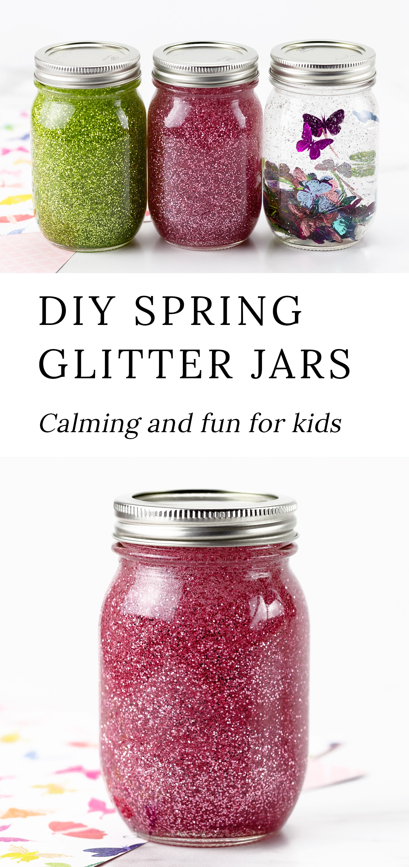 Follow along with our step-by-step directions and video tutorial to create these beautiful and calming Spring Glitter Jars! #glitterjars #spring #kidscrafts via @firefliesandmudpies