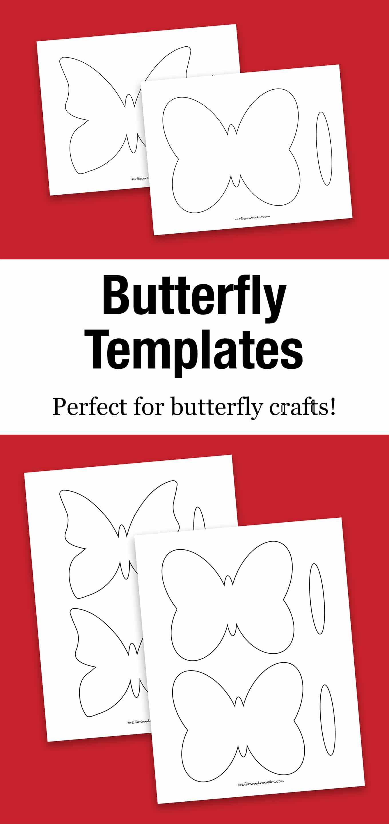 Our free printable butterfly template is perfect for butterfly crafts including suncatchers, simple paper crafts, painting, and more!#butterflytemplate #freeprintable #butterflycraft #suncatchersforkids #butterflysuncatcher via @firefliesandmudpies