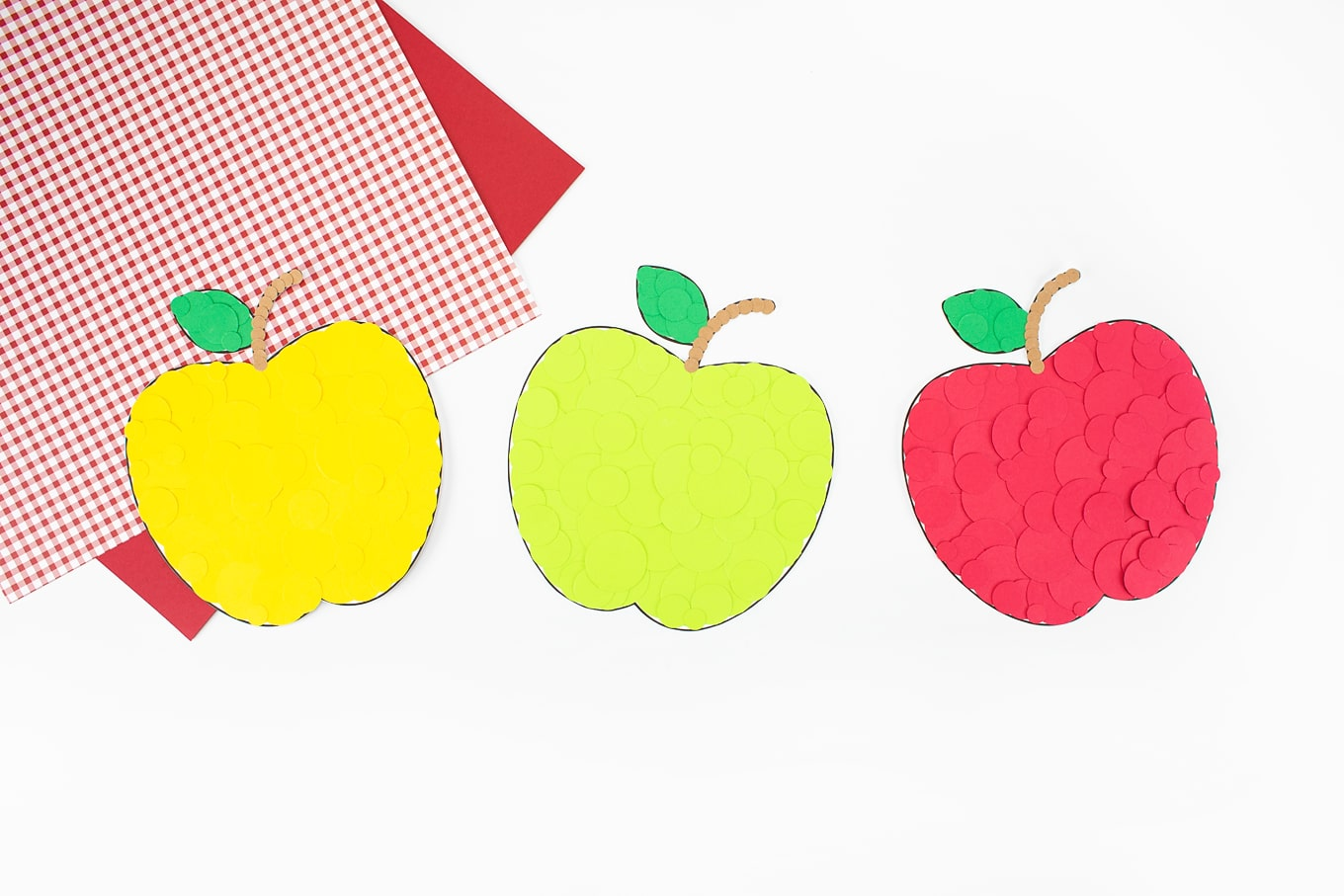 Yellow, Green, and Red Paper Apples