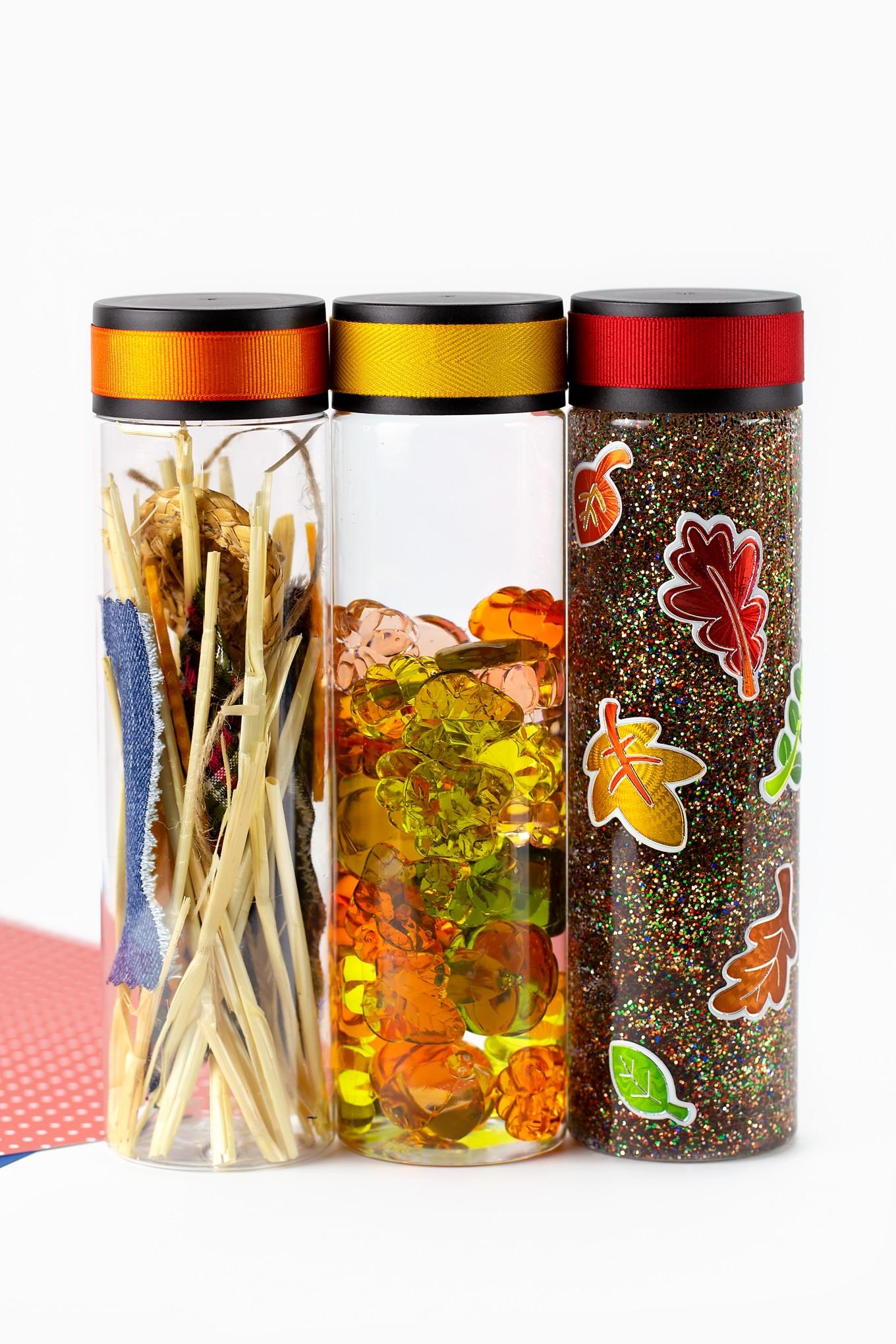 Fall Sensory Bottles (Scarecrow, Pumpkin, and Leaf)