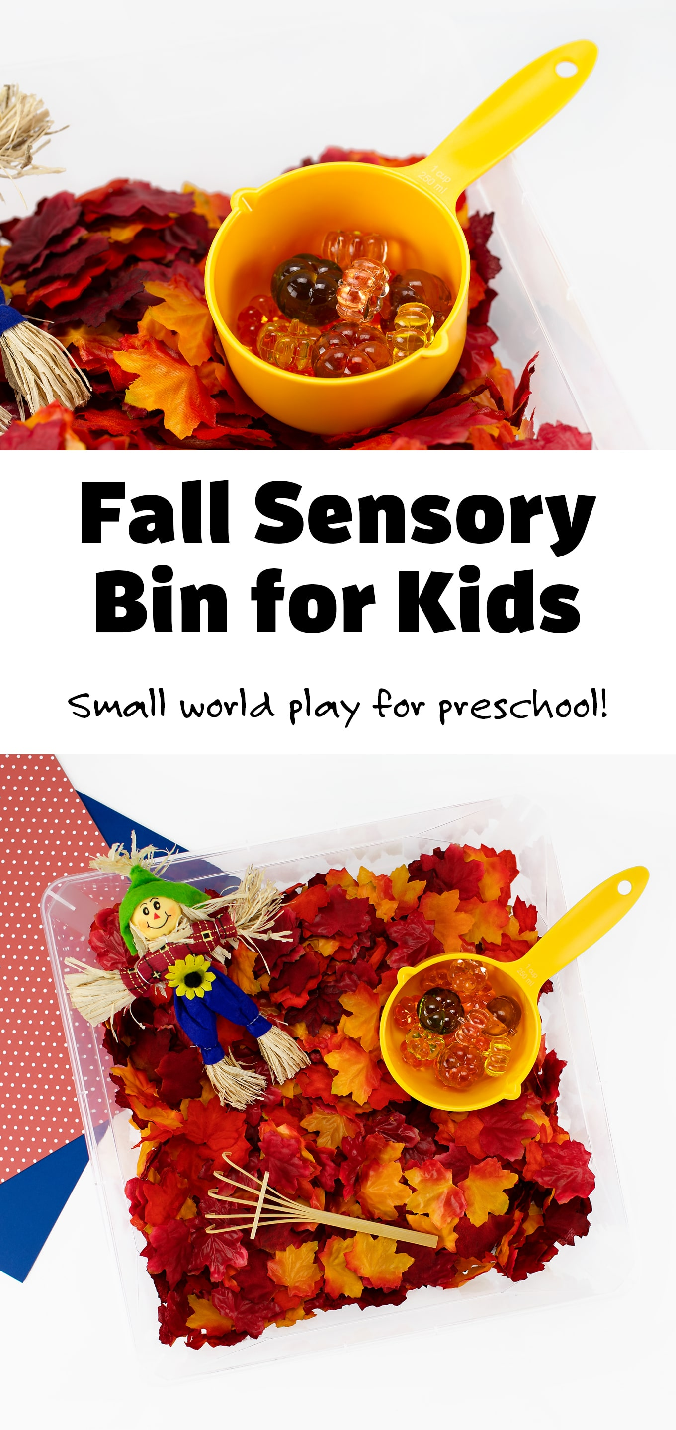 Packed with crunchy fall leaves, shiny gems, and a friendly scarecrow, this fall sensory bin is perfect for autumn learning and play.#fallsensorybin #preschool #craftsforkids via @firefliesandmudpies