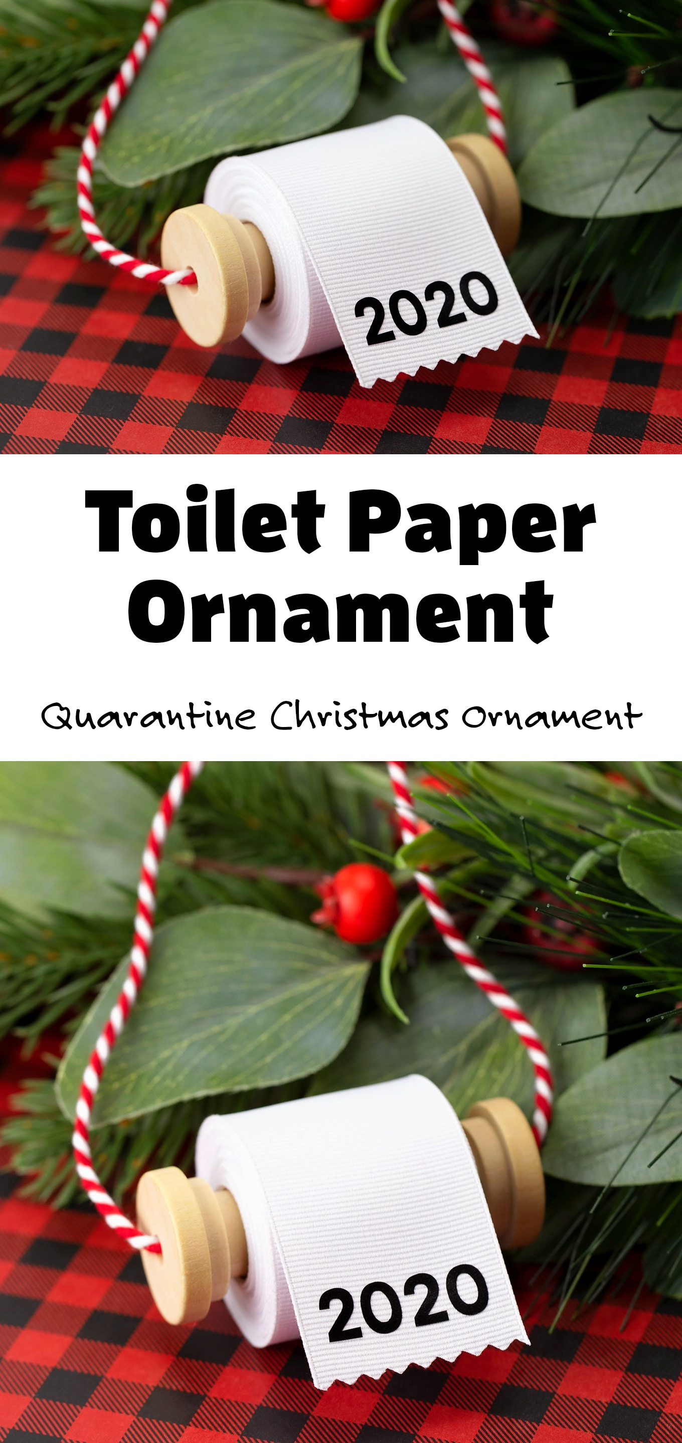 Looking for the perfect DIY Christmas ornament to commemorate 2020? We just couldn't help ourselves with this funny Toilet Paper Ornament for kids! It's the perfect light-hearted quarantine Christmas ornament for 2020! #2020toiletpaperornament #quarantinechristmasornament #toiletpaperornament via @firefliesandmudpies