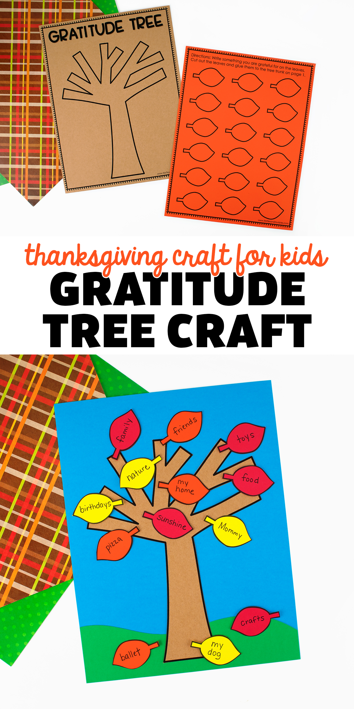 Learn how making a gratitude tree (free printable template) can teach your child how to appreciate the many blessings in their life. It's the perfect Thanksgiving craft for kids! via @firefliesandmudpies
