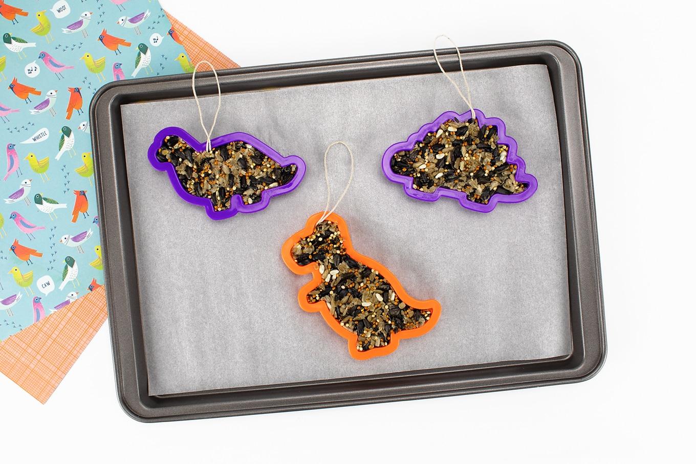 Three Dinosaur-Shaped Birdseed Ornaments