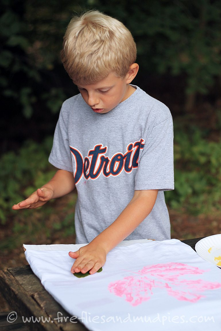 Leaf print shirts are a fun craft for camp or school. | Fireflies and Mud Pies