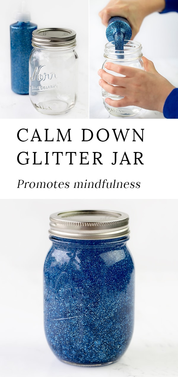 Mindfulness is an important skill for kids to develop. Learn how to make a calm down glitter jar to promote mindfulness and calm in your home or classroom. #glitterjar #socialemotionallearning #sensorybottles #glittertimer #calmdown #angermanagement via @firefliesandmudpies