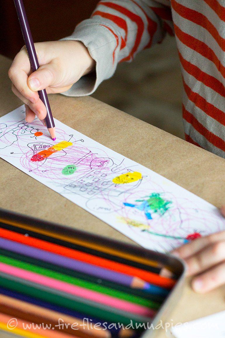 Fingerprint Cartoons with Kids | Fireflies and Mud Pies