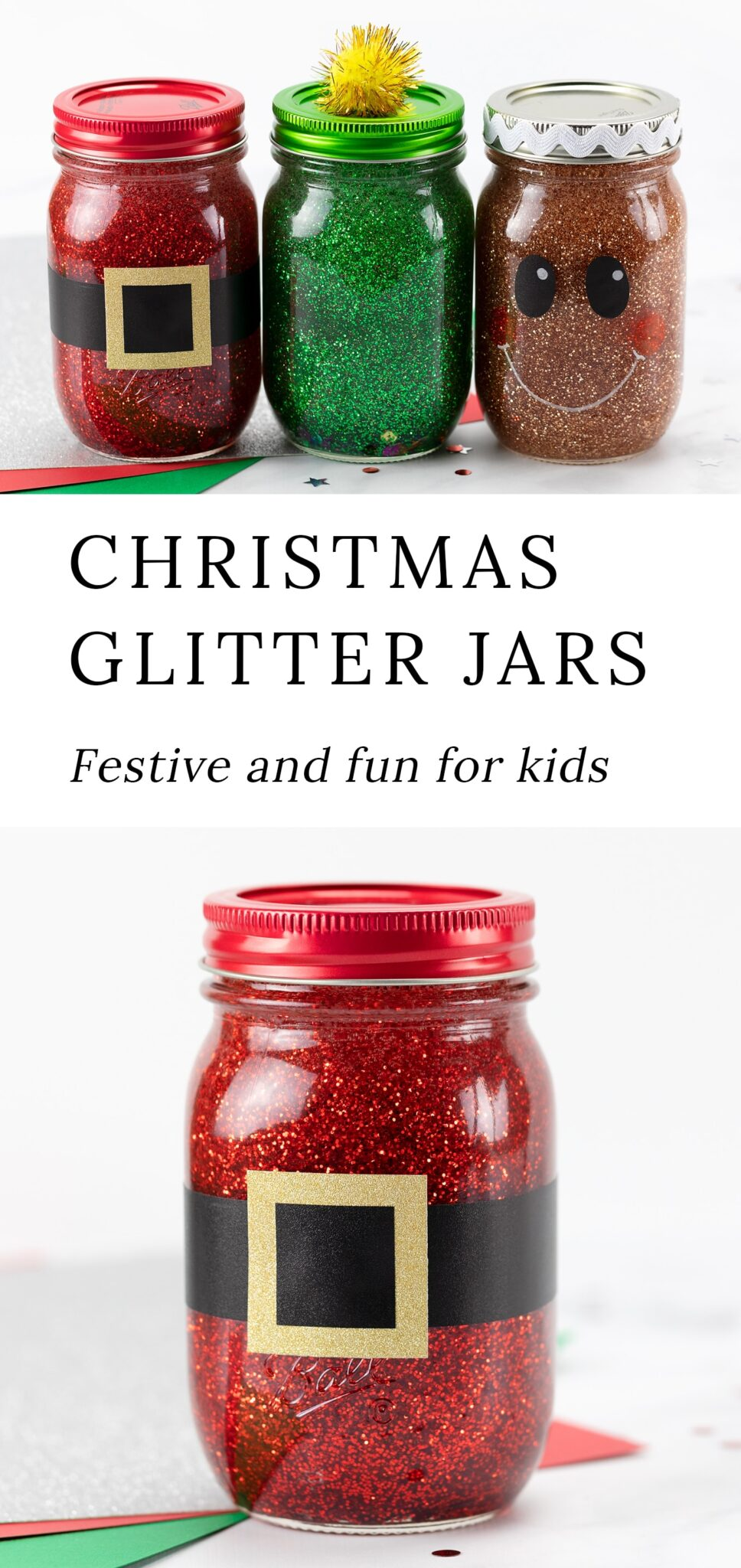 These Christmas Glitter Jars are easy and fun for kids to make at home or school. They are a great stocking stuffer or Secret Santa gift! #glitterjars #christmas #kidscrafts via @firefliesandmudpies