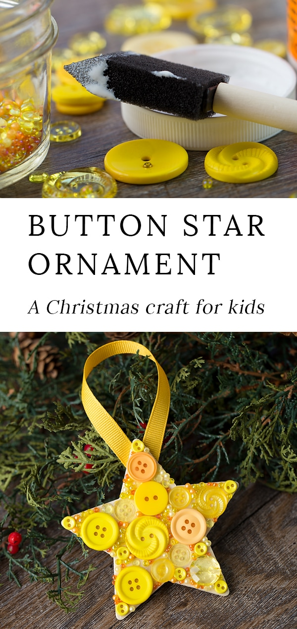 Just in time for Christmas, learn how to make a colorful DIY button star ornament with a wooden star, yellow buttons, and glue. This easy holiday craft for kids is perfect for home or school! #christmas #ornament #star via @firefliesandmudpies