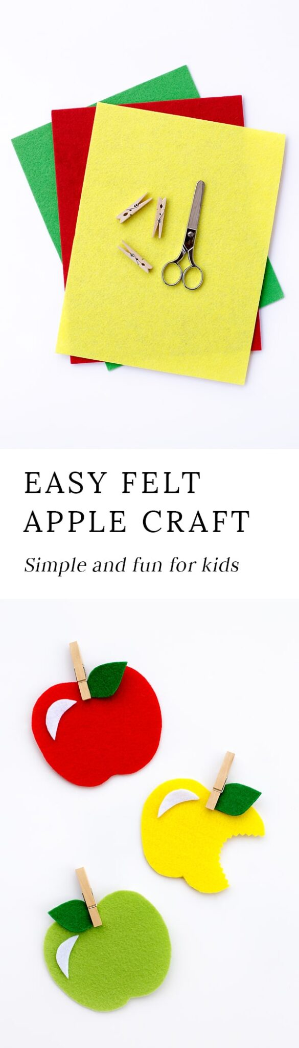 Kids of all ages will have fun creating colorful felt apples for fall. This post includes a free printable apple template, making it perfect for home or school. #applecraft #fallcraft via @firefliesandmudpies