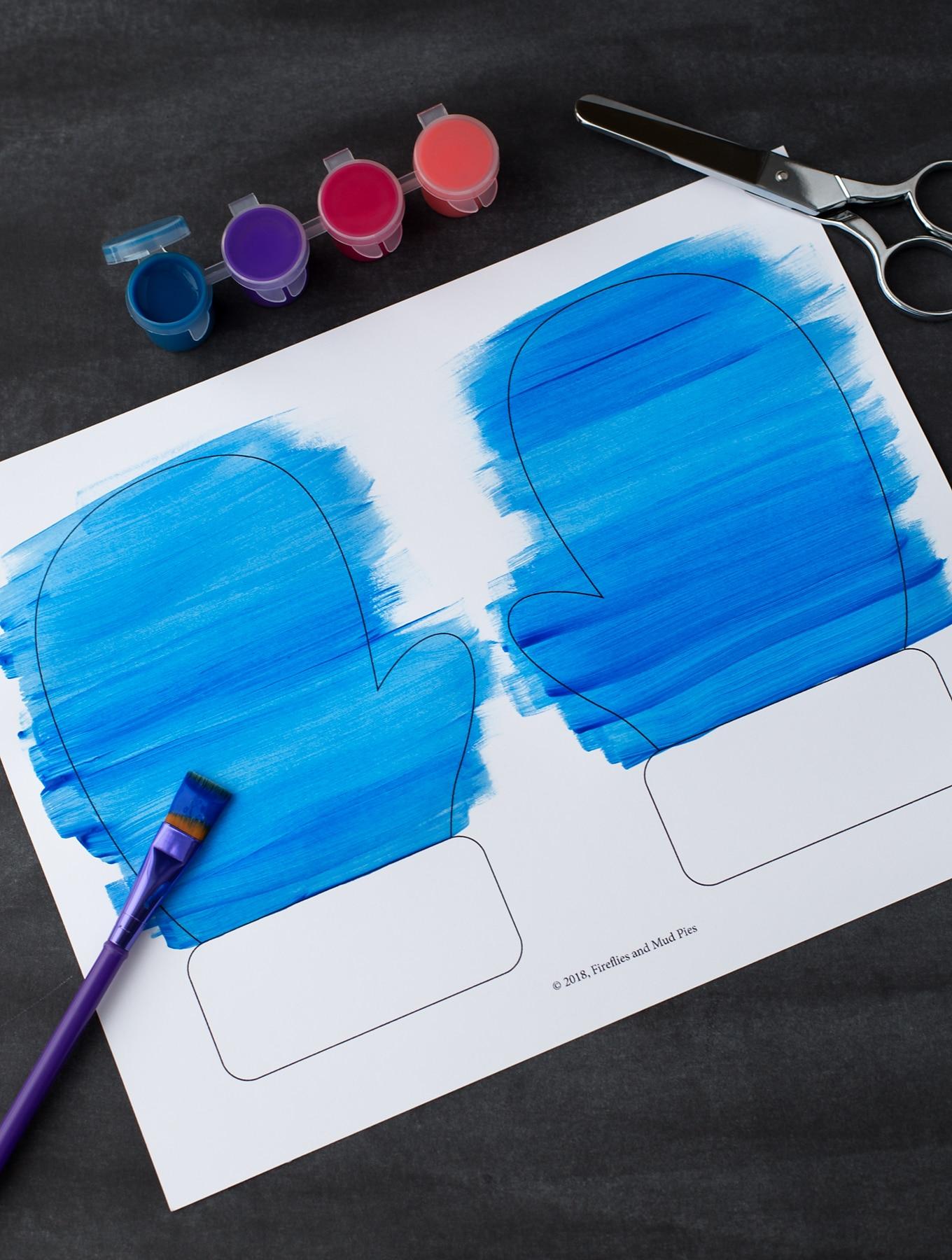 Easy Paper Mitten Craft In-Process