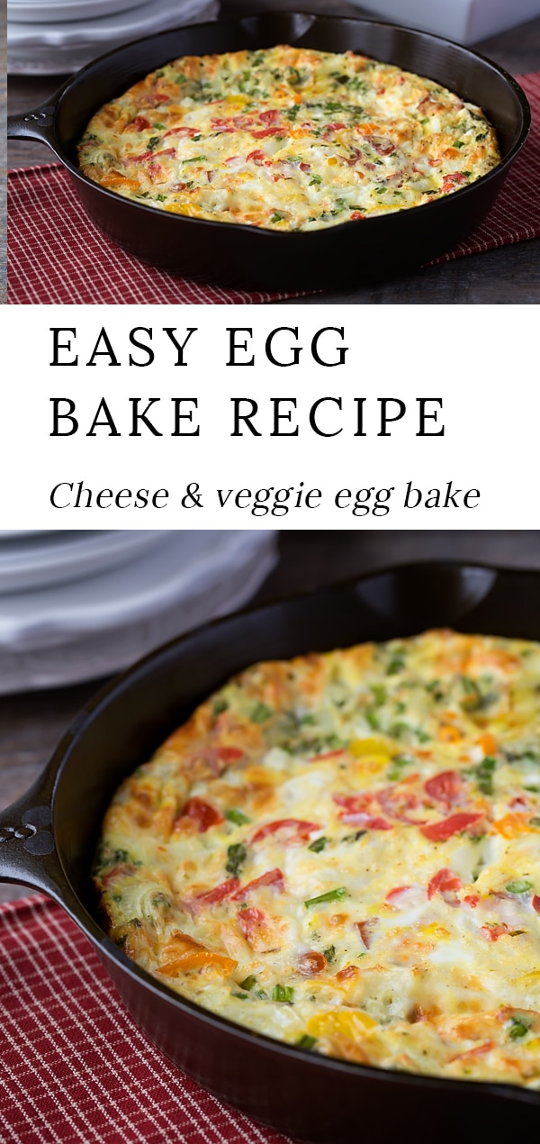 Start the day off right with Cheese and Veggie Egg Bake, a delicious vegetarian egg casserolebreakfast for busy on-the-go mornings. This easy egg bake recipe is perfect to make ahead for company! #egg #bake #recipe via @firefliesandmudpies