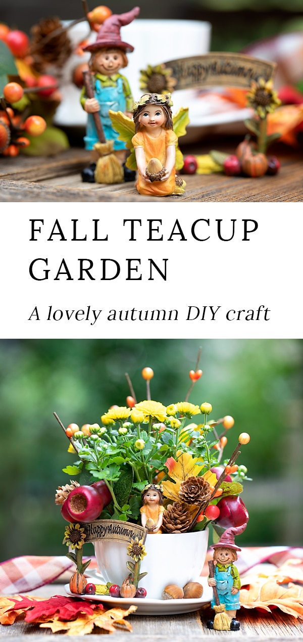 Just in time for fall, learn how to make a beautiful fall teacup garden with fall plants, resin miniatures, pine cones, and floral embellishments. #teacupgarden #fairygardens #fall via @firefliesandmudpies