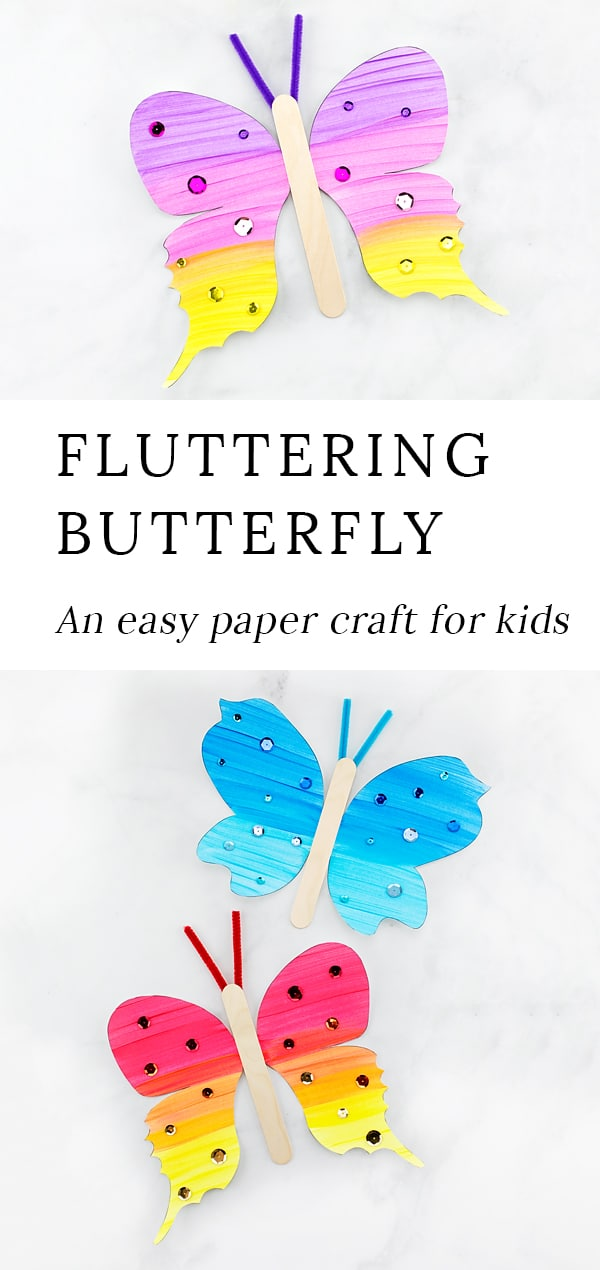 Looking for an easy and fun paper butterfly craft for kids? This fluttering butterfly craft includes a printable template, making it perfect for home, school, or special butterfly programs at libraries, museums, or butterfly exhibits. #butterflycrafts #preschoolcrafts #papercrafts #easycraftsforkids via @firefliesandmudpies