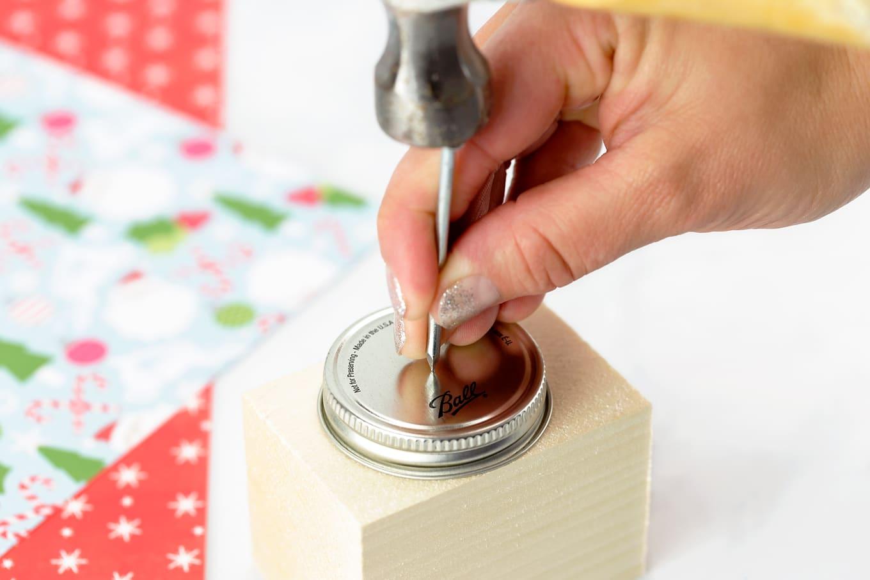 Hammer a Hole in a Mason Jar Lid