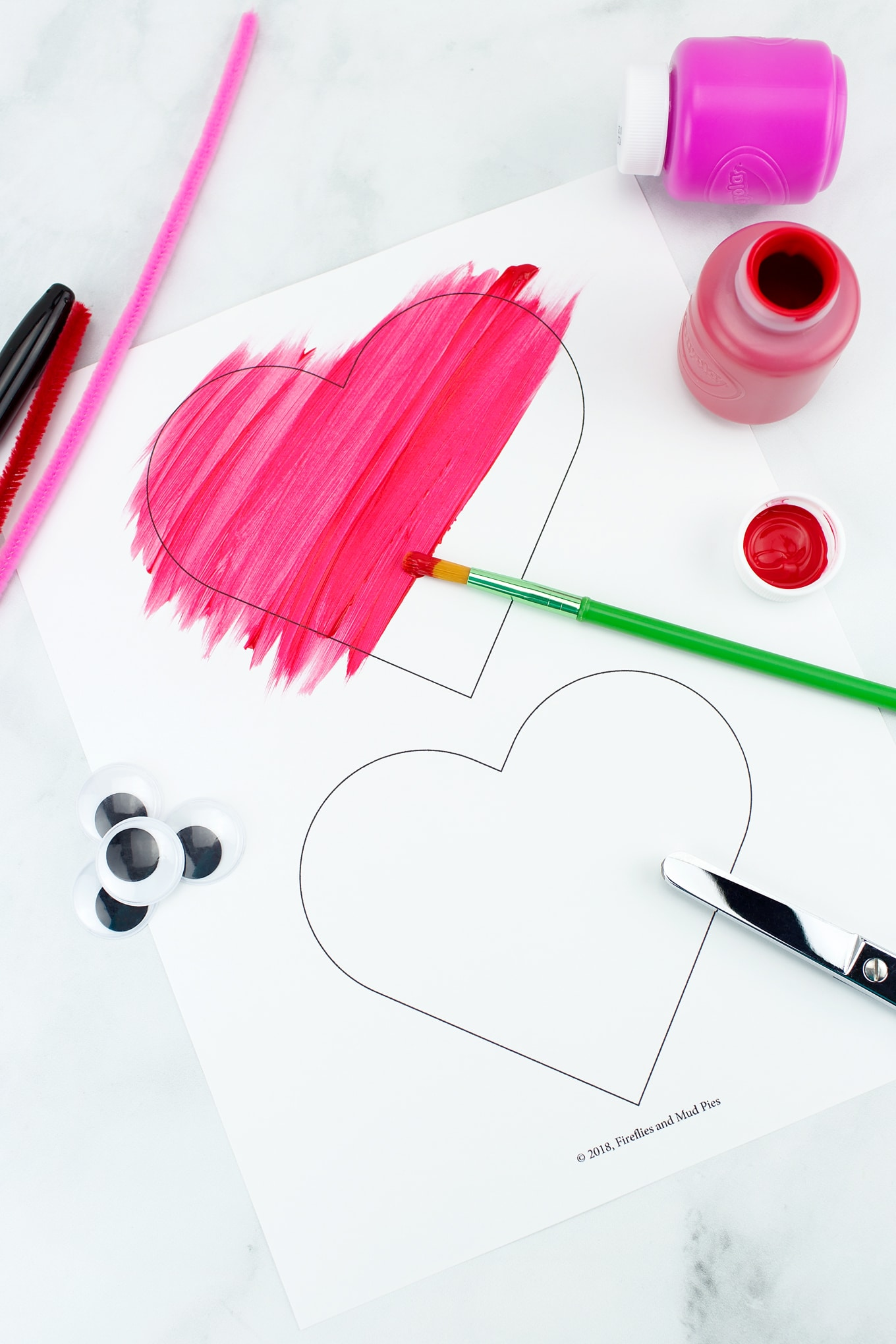 Painting Heart Buddies Easy Valentine's Day Craft for Kids