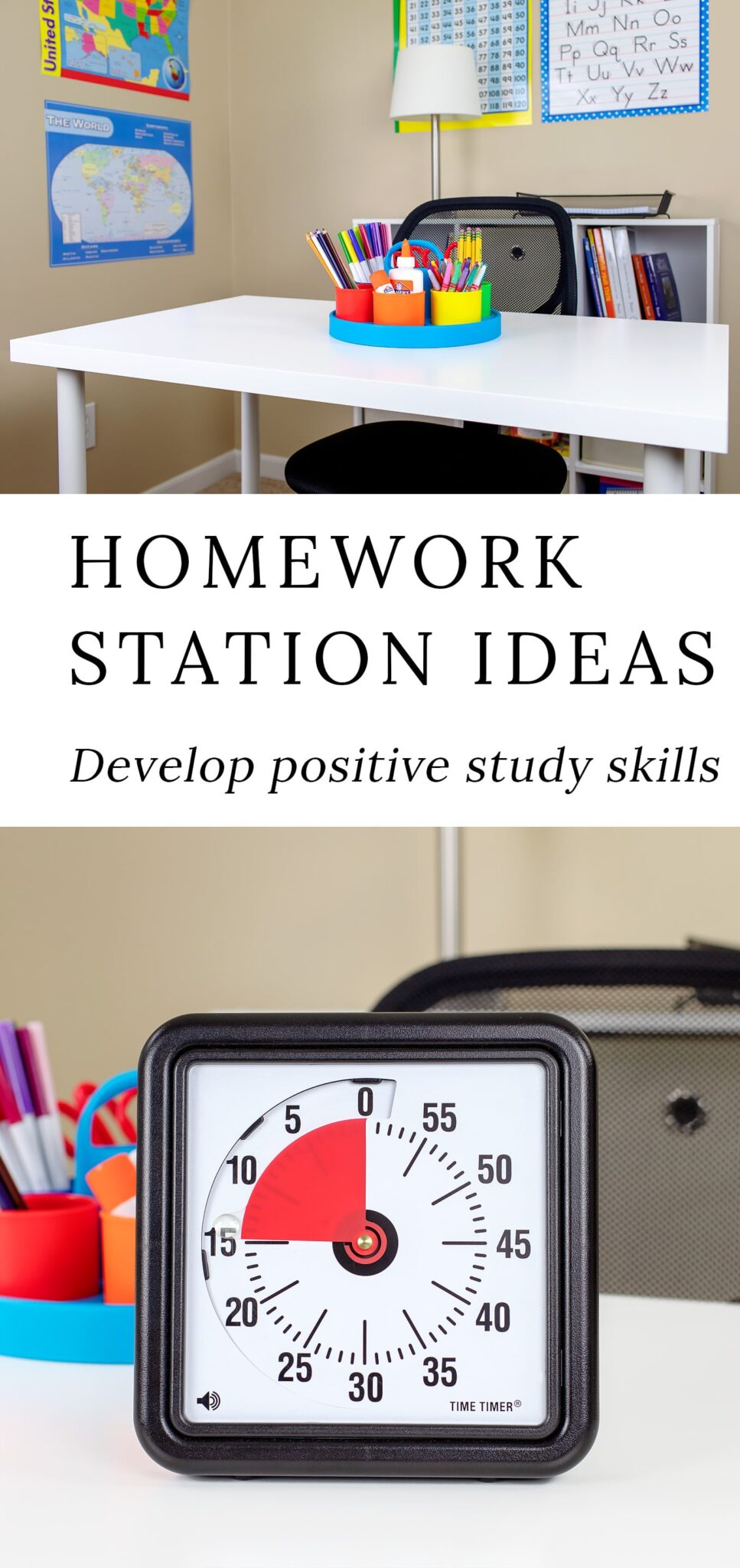 Help kids develop positive study skills, productive work habits, and increased school success by creating a designated homework station in your home.#homeworkstation #homework #studyskills #backtoschool #homeworkstationideas #kidsstudystation #studyspaceideas #homeworknook #education #homeschoolroom via @firefliesandmudpies
