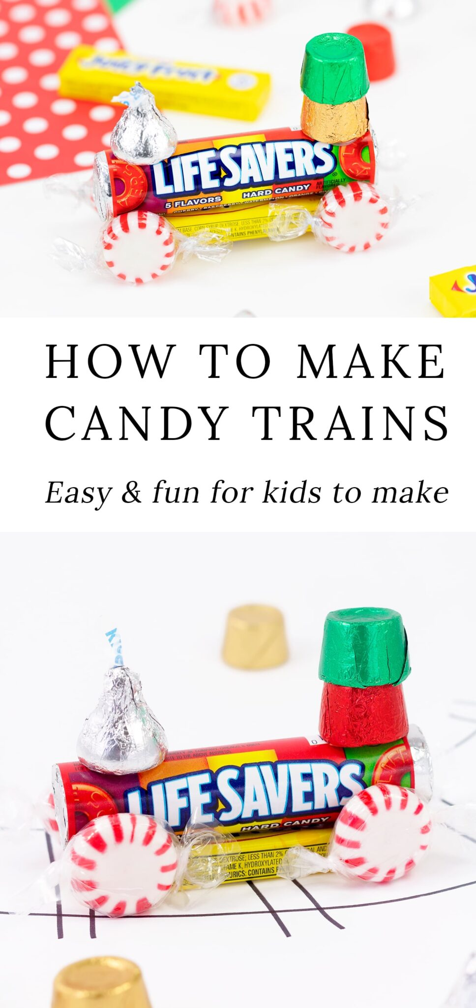 In this easy step-by-step tutorial and video, learn how to make a classic Candy Train from Life Savers, peppermints, Hershey's Kisses, and more. This adorable Christmas craft is fun for kids to make at school, holiday parties, birthday parties, and home! It looks so adorable hanging from the Christmas tree. #christmas #kids via @firefliesandmudpies
