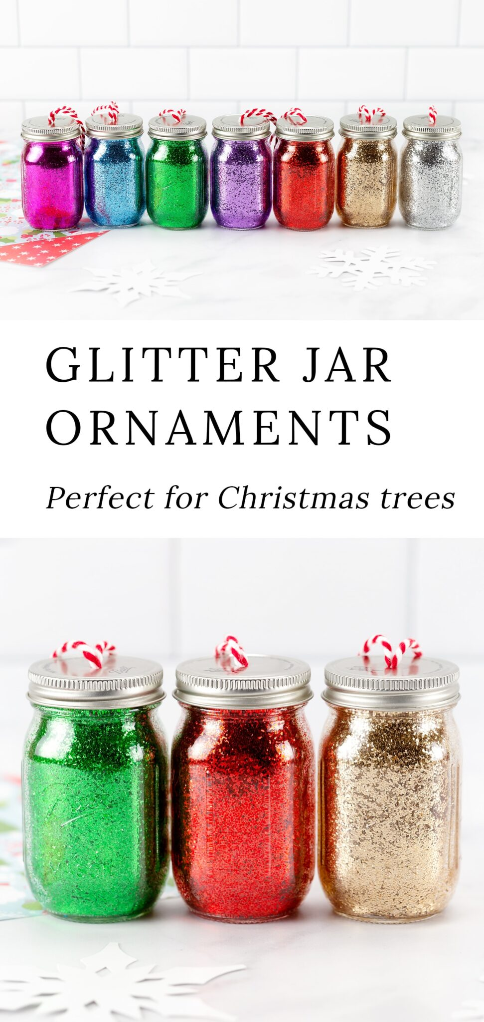Perfect for calming stress during the busy holiday season, handmade Glitter Jar Ornaments are an easy and fun holiday craft for kids of all ages! They sparkle beautifully on the Christmas tree and make a thoughtful gift for friends and family who love glitter jars. #glitterjars #ornaments #kidscrafts via @firefliesandmudpies