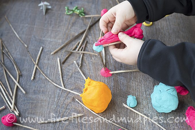 Building with Playdough and Sticks | Fireflies and Mud Pies