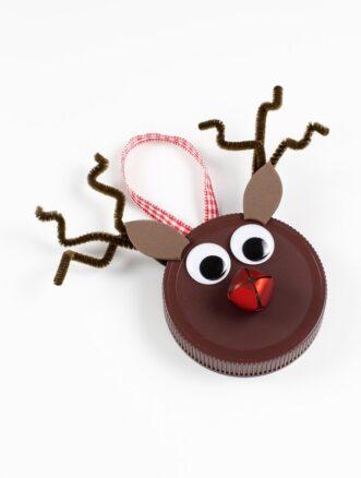 Jar Lid Reindeer Ornament