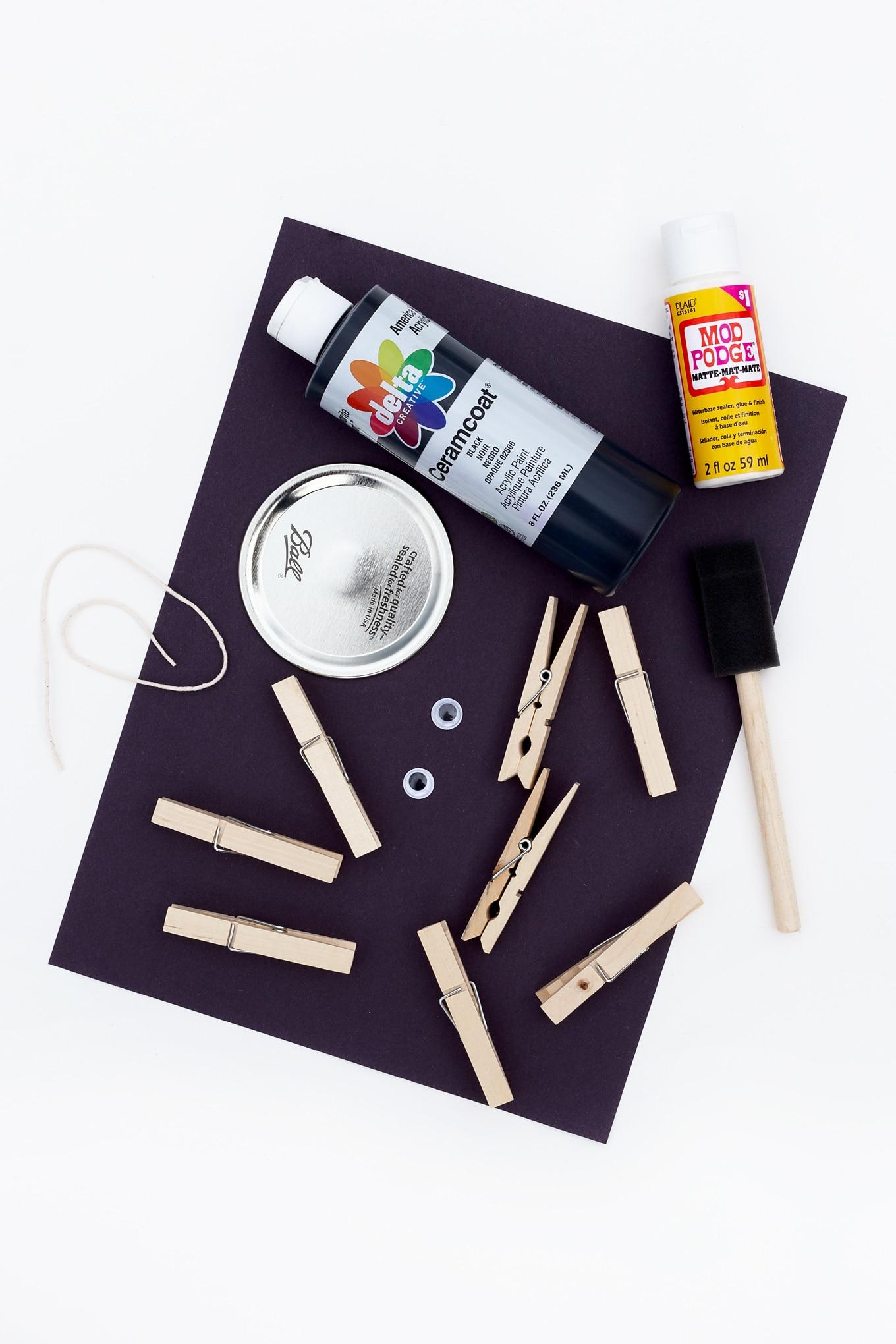 Mason Jar Lid Spider Craft Materials