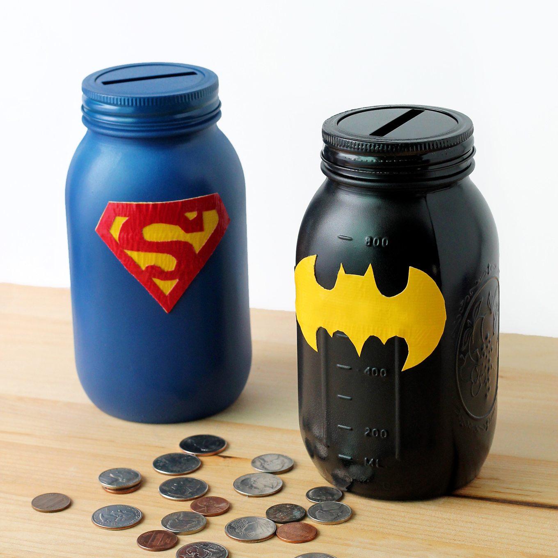 Superhero Mason Jar Bank
