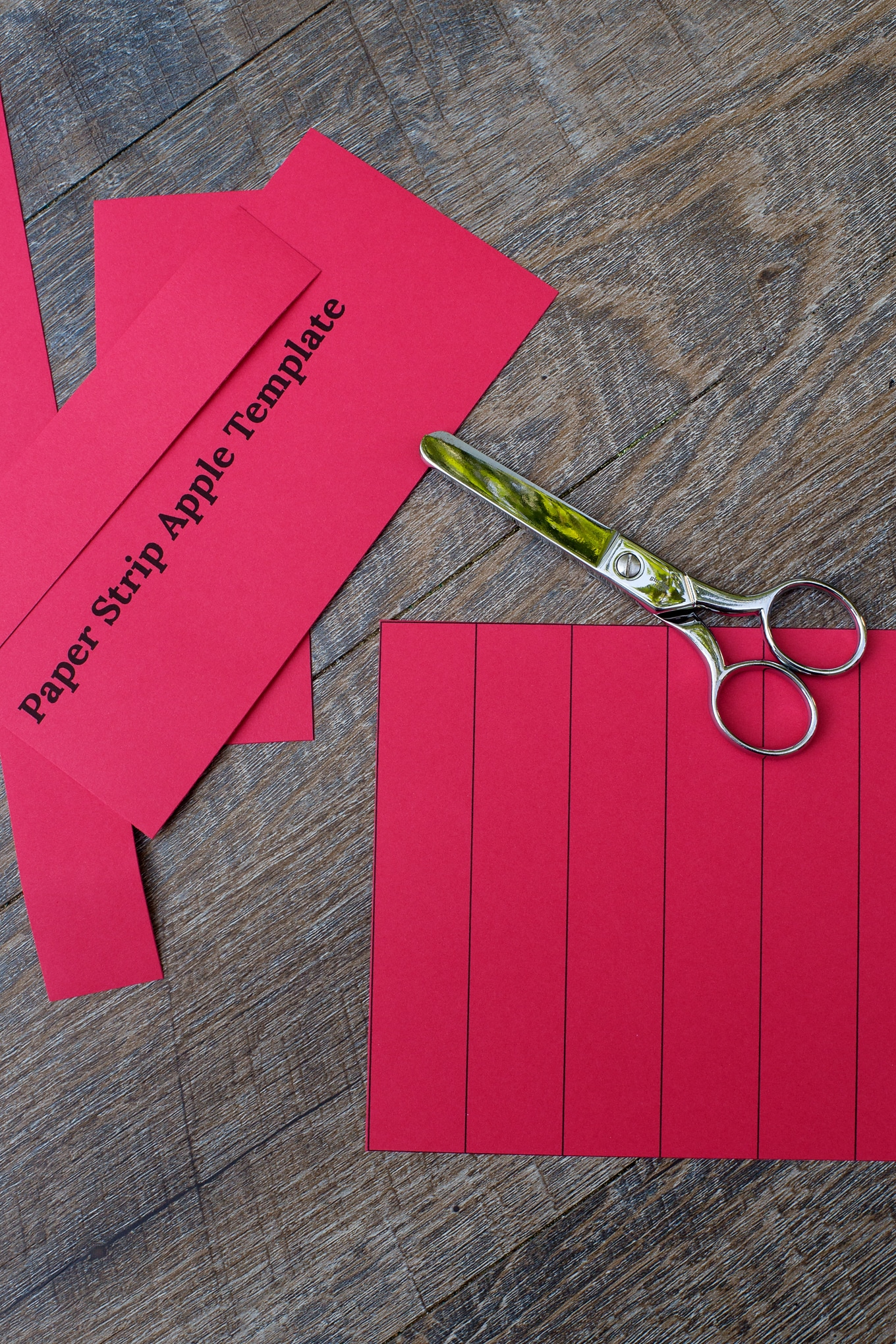 Cutting Strips for Paper Apple Craft