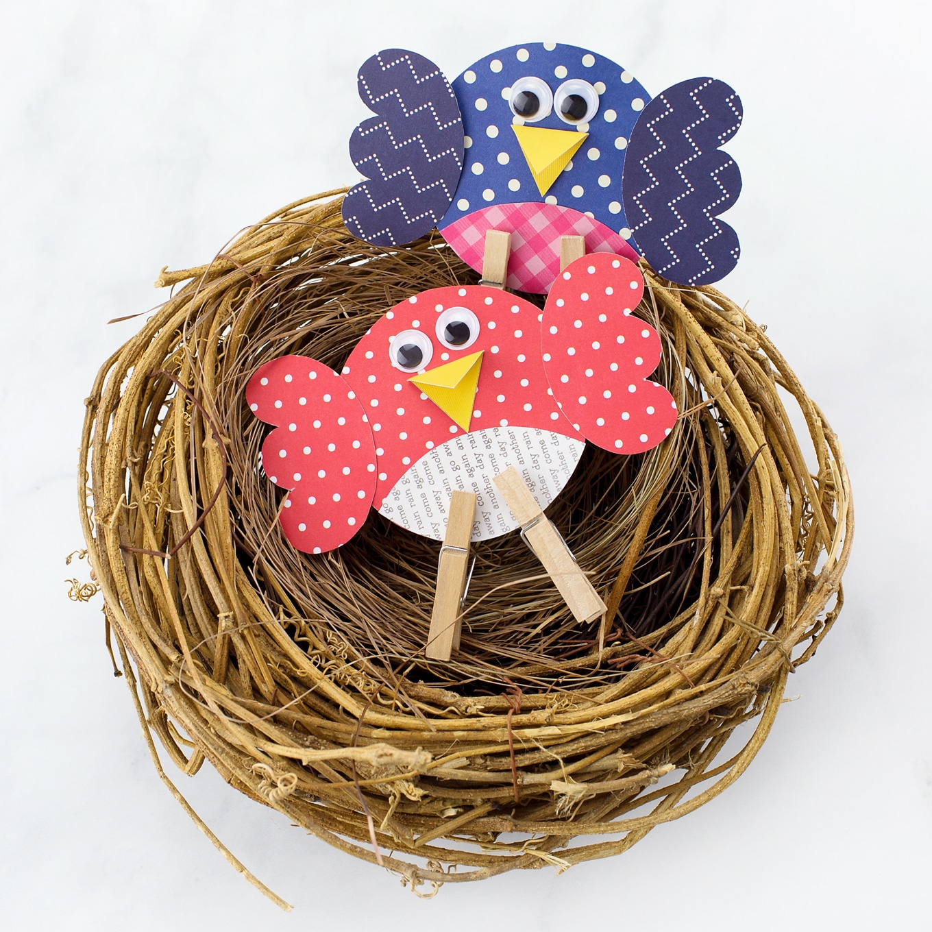 Paper Birds in a Nest
