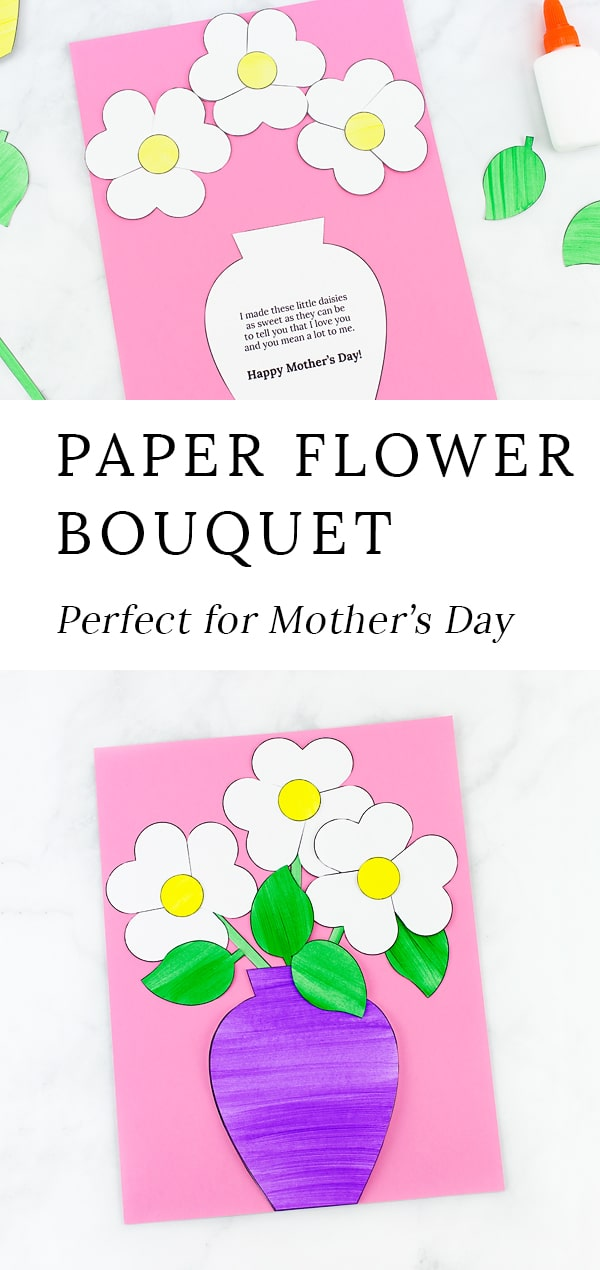 This paper flower bouquet craft is easy and fun for kids of all ages! The printable flower bouquet template includes options for Mother's Day, Valentine's Day, Grandparent's Day, and more! #flower #bouquet via @firefliesandmudpies