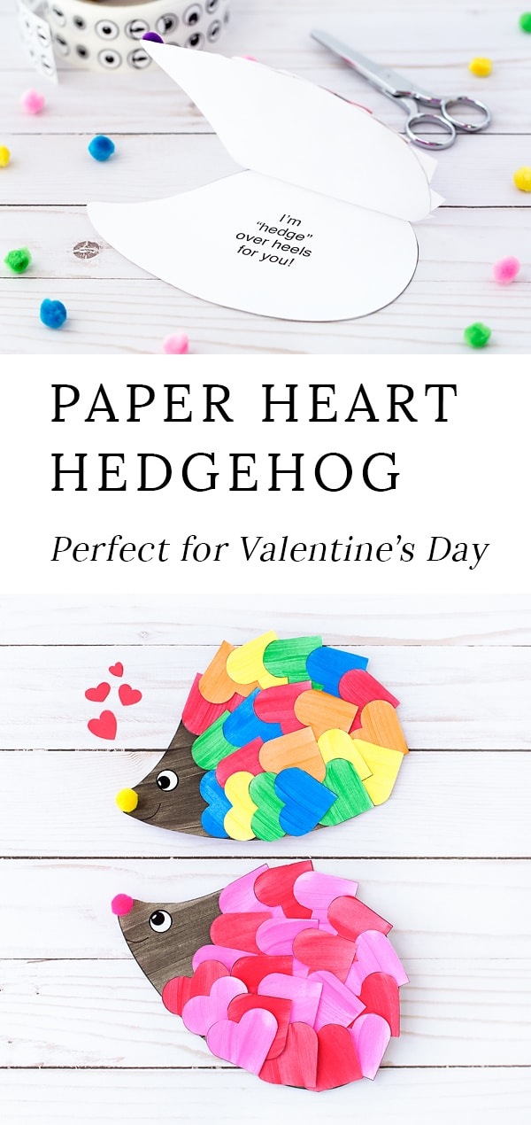 If you are looking for the sweetest hedgehog Valentine for kids, you've come to the right place! Kids of all ages will enjoy creating a happyhedgehog craftwith hearts, paint, pom poms, and our printable hedgehog template. It's the perfect hedgehog craft for home or school! #hedgehog #craft #valentine via @firefliesandmudpies