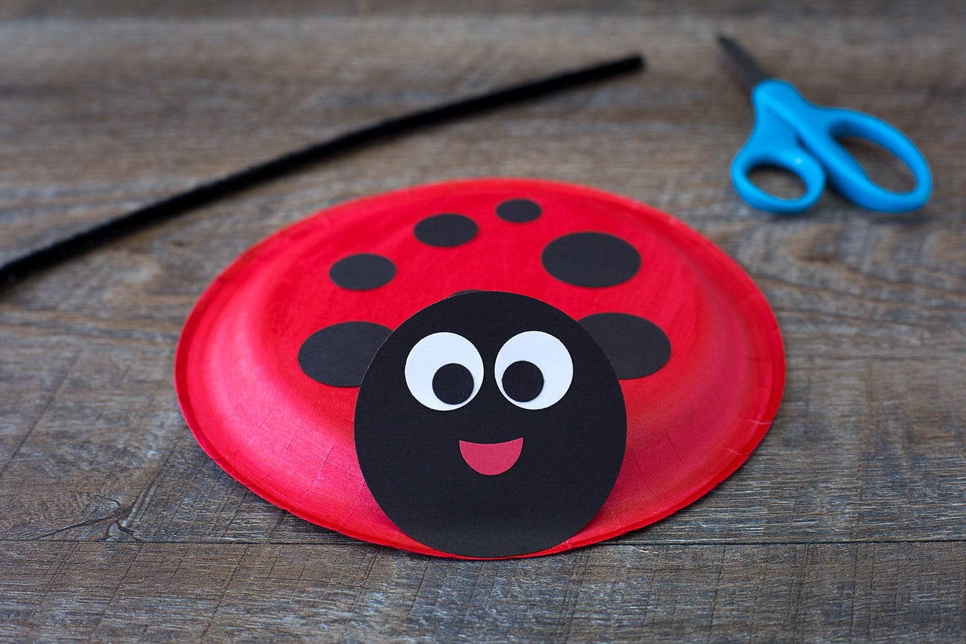 Paper Plate Ladybug In-Process