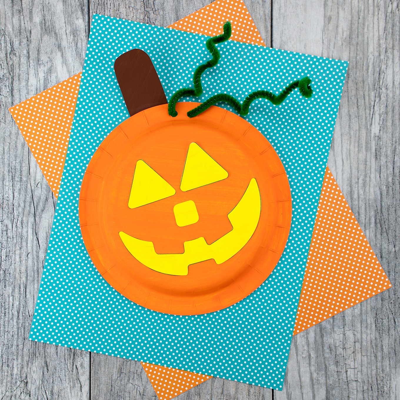 Easy Paper Plate Pumpkin Craft