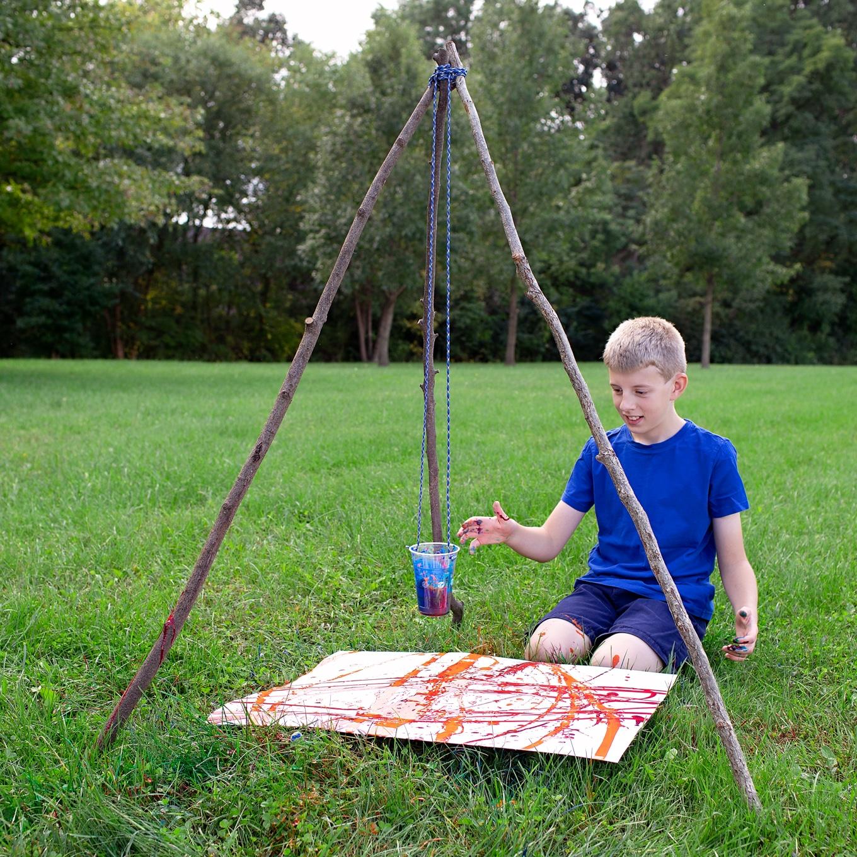 Child Creating Pendulum Art - From the Book Sticks and Stones