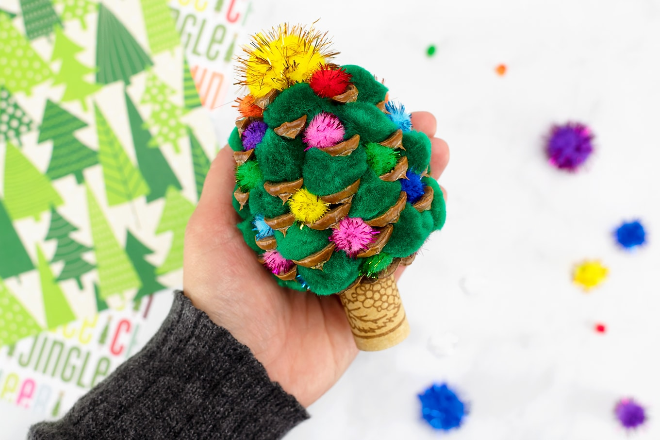 Finished Pine Cone Christmas Tree Craft