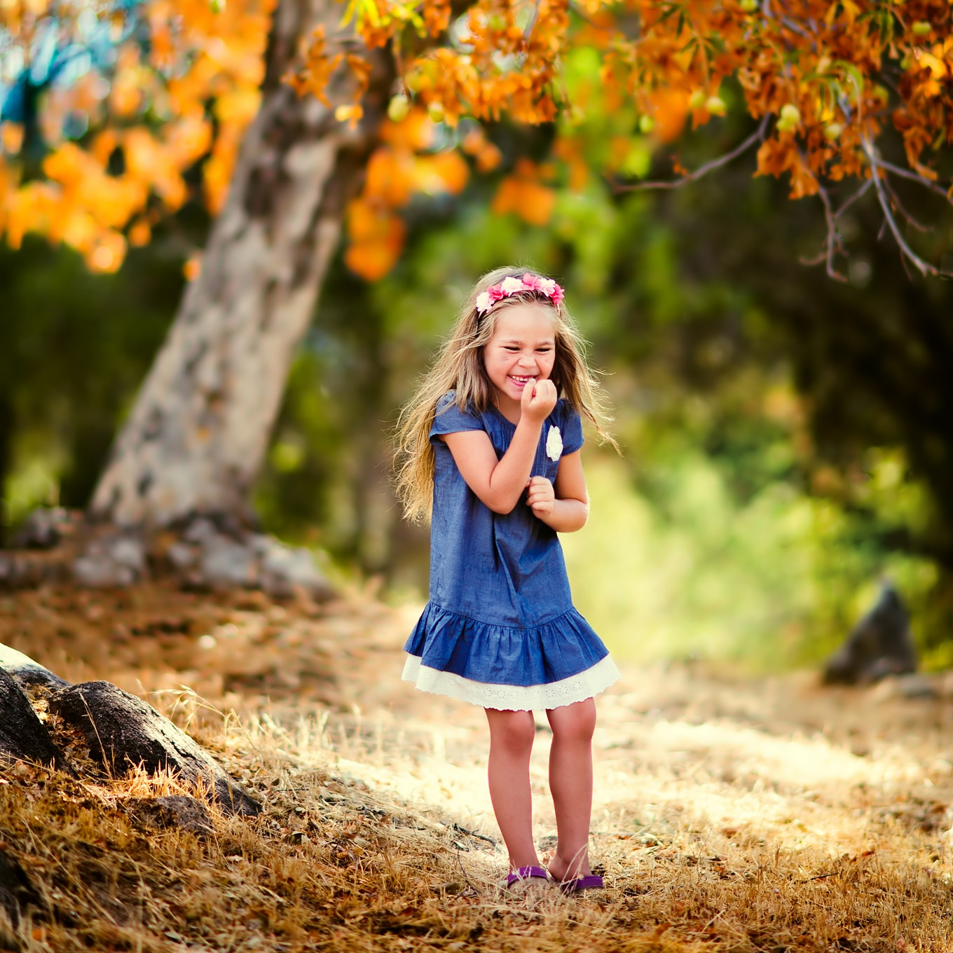 Girl Playing in the Forest