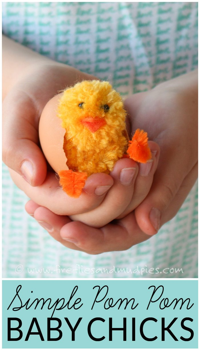 Simple Pom Pom Baby Chicks – Learn how to make pom pom pets for Easter. These adorable baby chicks are the perfect Easter basket addition and can be made with simple craft supplies.