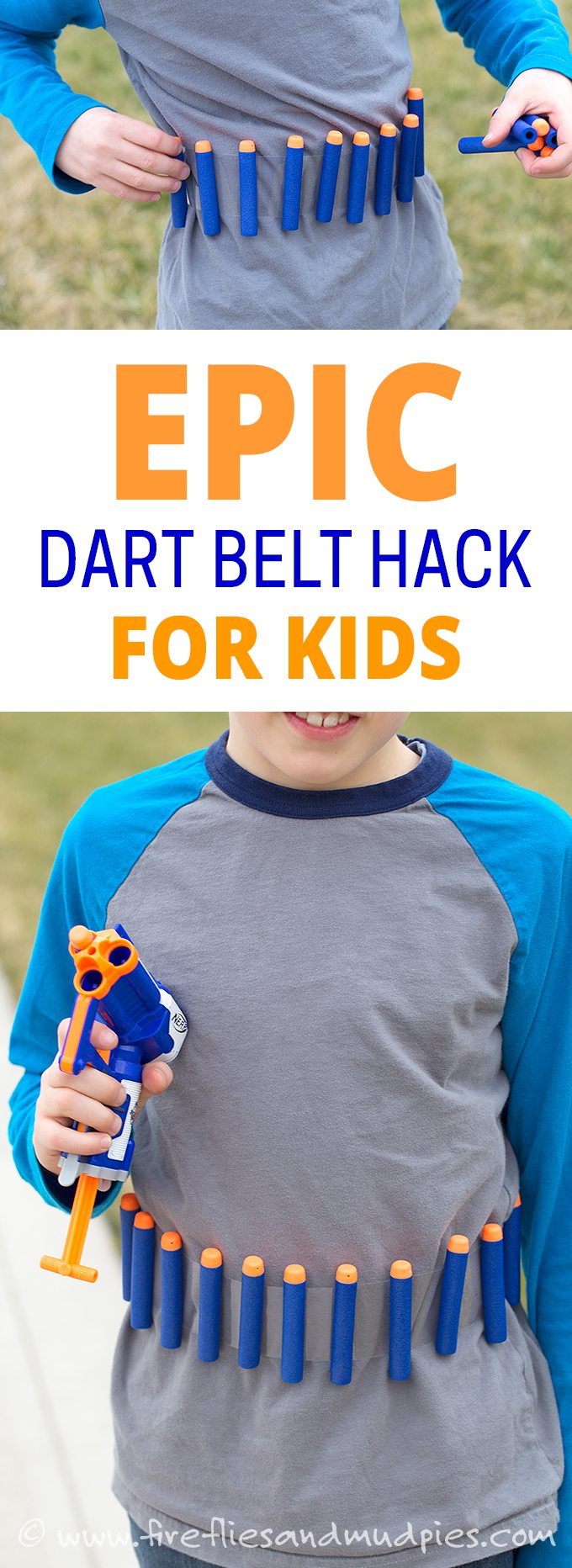 Do your kids love NERF® battles? This epic dart belt hack will keep them playing longer and even help with cleanup!