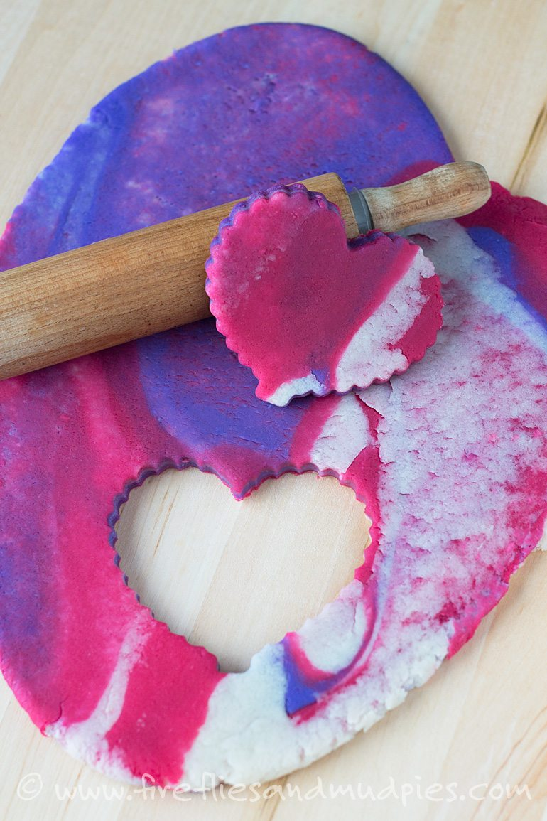 Marbled Valentine's Day Playdough | Fireflies and Mud Pies