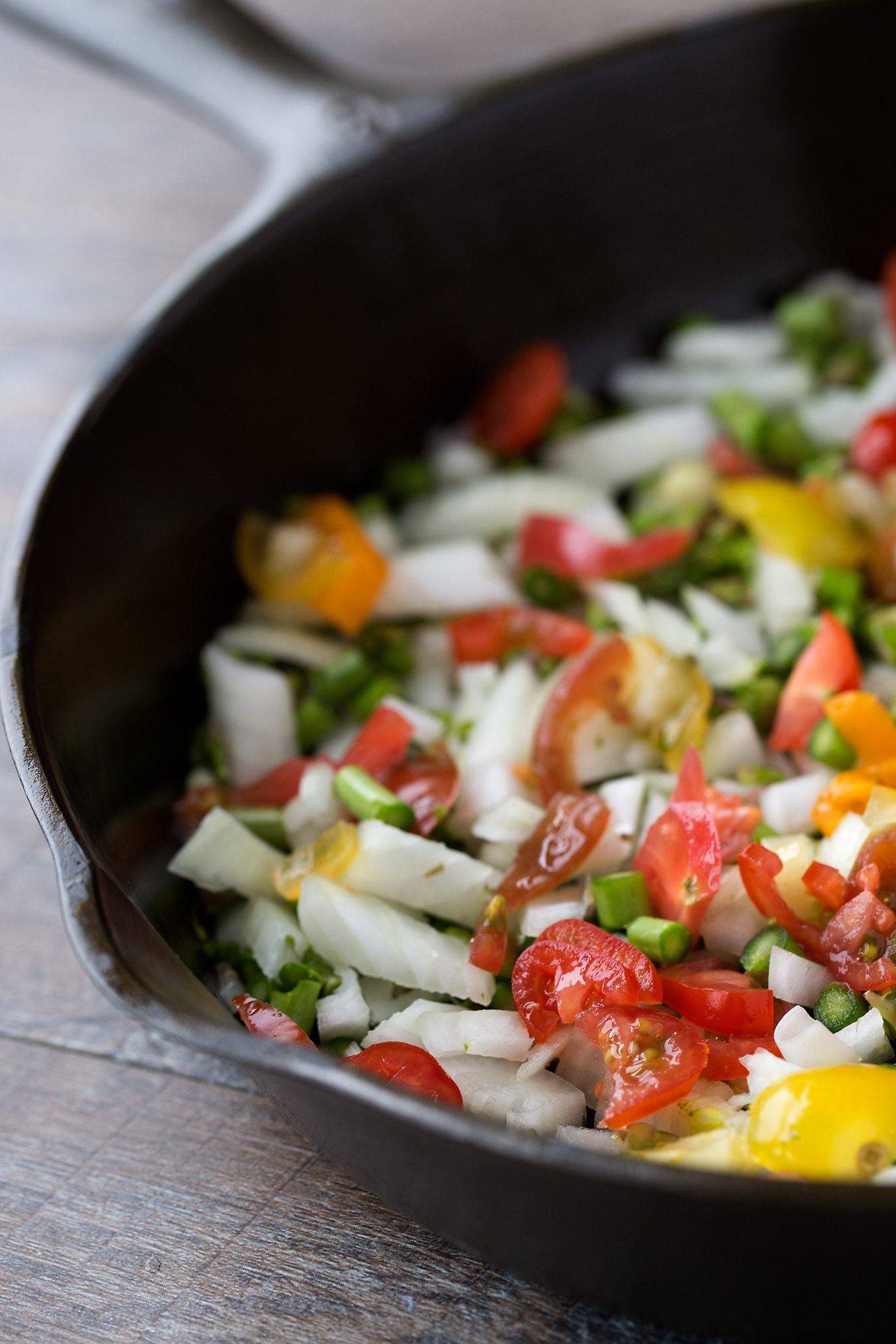 Fresh Vegetables in Cast Iron Pan for Egg Bake Recipe