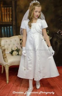 Discount First Communion Dresses     FirstCommunions com A Line First Communion Dress Satin with Split Skirt